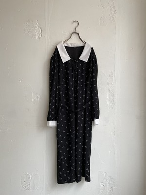 vintage design collar dress -navy-