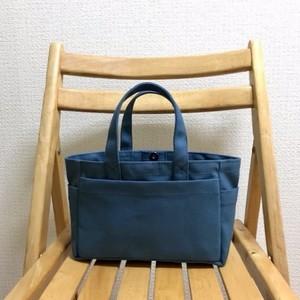「ボックストート」ミニサイズ「ミネラルブルー」 帆布トートバッグ 倉敷帆布8号