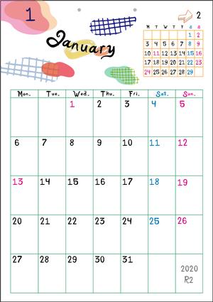 2020カレンダー(月曜始まり・日曜始まり)