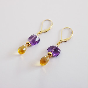 PIECES Earrings|Amethyst, Citrine