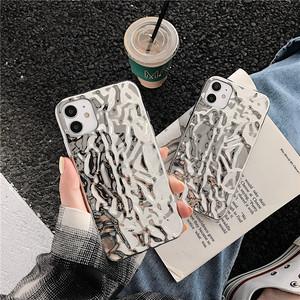 シルバーメタルデザインiPhoneケース S3887