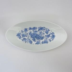 花唐草文様楕円平鉢