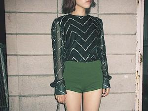 Vintage black sheer and lame blouse