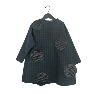 UNEVEN BEAR QUILTING DOTS CHECK DRESS / WOMEN