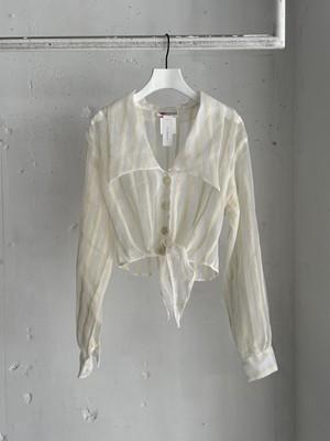 made in U.S.A. vintage sheer big collar shirt / stripe