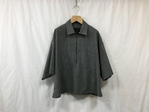 "bukht""HARF ZIP PULL OVER SHIRTS-GLEN CHECK FAB-WHITE×BLACK"""