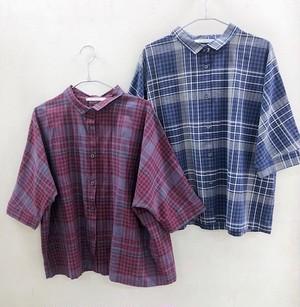 綿麻生地の6分袖チェックシャツ【cotton linen check shirt】