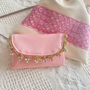 Mini wallet  ピンク×ビーズ