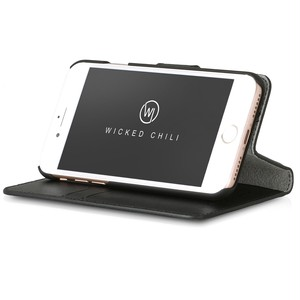 Wicked Chili by ドイツ ヨーロッパ産 高級牛革 プレミアム 本革 レザーケース 手帳型 マグネット式開閉 (Apple iPhone 8/7)