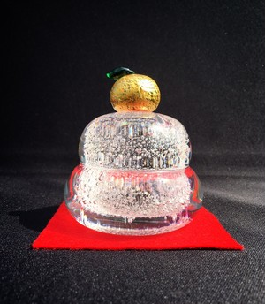 麻炭ガラス鏡餅「もっちり」(小)ヒマラヤ産原種麻炭使用/受注制作