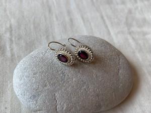 <vintage silver925>purple glass pierce