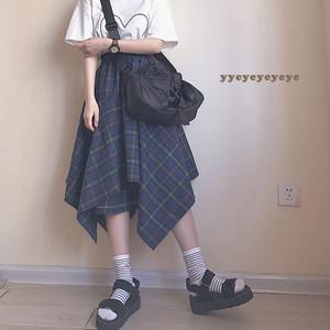 【ボトムス】日系不規則ファッションチェック柄ハイウエストスカート