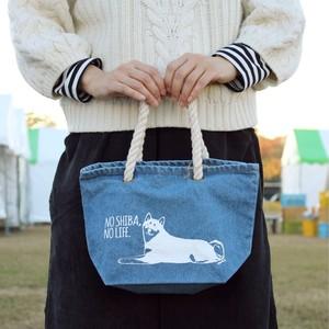 持ち手が可愛いアートな柴犬デニムトートバッグ