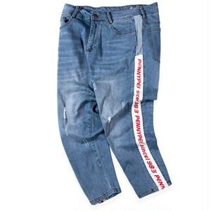 メンズ大きいサイズロゴジーンズ。ブルーカラー