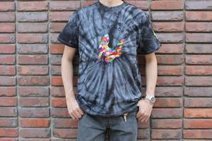 OAXACA(オアハカ) / SIERRA NORTE COYOTE 手刺繍Tシャツ(ブラックタイダイ)