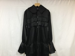 "JUN MIKAMI "" Silkcotton frill shirtsdress "" BLACK"