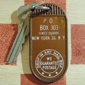 アメリカ タイムズ・スクエア P.O.BOX303 ヴィンテージ 410キー付ホルダー