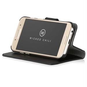 Wicked Chili by ドイツ ヨーロッパ産 高級牛革 プレミアム 本革 レザーケース 手帳型 マグネット式開閉 (Samsung Galaxy A5 (2017))