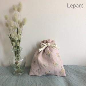 大人の花糸刺繍リネン巾着【flower1】