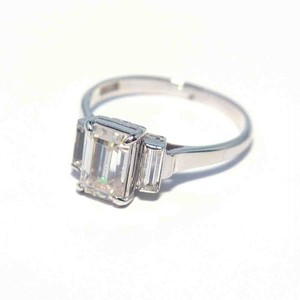 Vintage Japanese Ring - K14WG Clear Stone #14