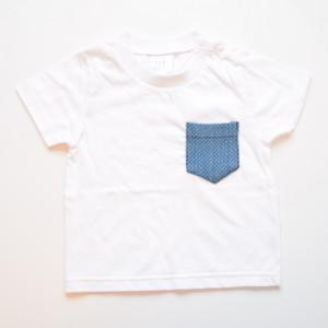 ビンテージ 藍染 剣道着 リメイク ポケットTシャツ for kids