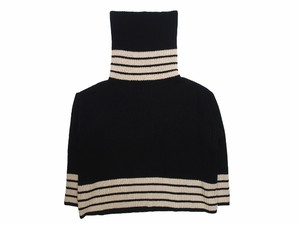 LONG MOCK NECK SWEATER  BLACK×BEIGE  18AW-FS-20