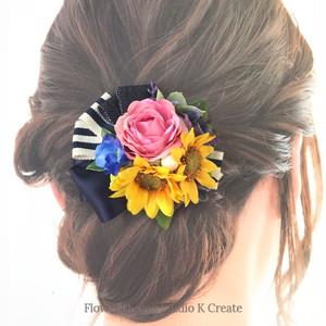 ナチュラルな髪飾り♡二輪のヒマワリとピンクローズのヘアクリップ 結婚式 ウェディング お出掛け 発表会 ヘアクリップ 髪飾り
