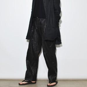 Leather Linen Pants 〈Black〉