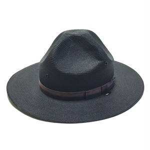 Vintage Stratton Straw Four Dent Style Hat Dark Gray 7 1/4