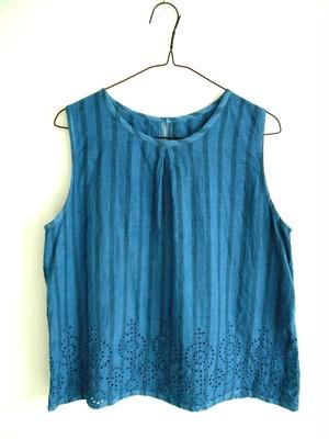 ◆100%自然素材 天然灰汁発酵建て 本藍染◆ パンチングカットワーク刺繍 ノースリーブトップス