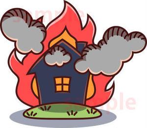 火事で燃える家イラスト素材
