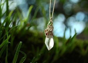 水晶ポイント(インド産)  × トルマリン ペンダント
