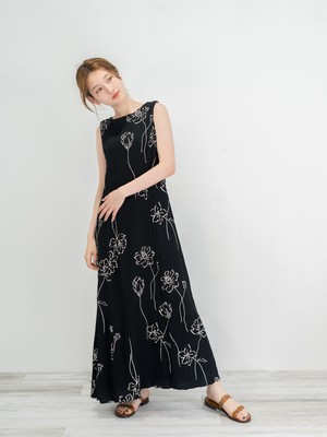 ◼︎90s monotone floral waffle back ribbon maxi dress from U.S.A◼︎