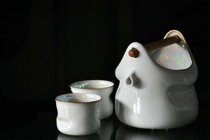 森正洋 1989 ゴールドパールセット/アイスペール&カップ/白山陶器