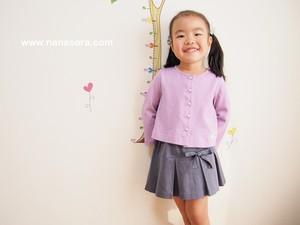 子供服でもパールボタンでおしゃれに。 パールボタンカーディガン ライトパープル