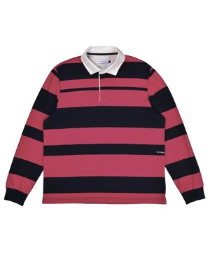 POP TRADING COMPANY RUGBY SHIRT PINK/NAVY