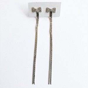 rhinestone bow long chain pierce[p-92]