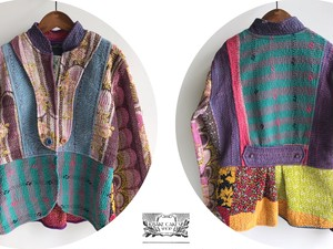 Stand Up Collar Jacket 【Plaid & Flower Patch Work】