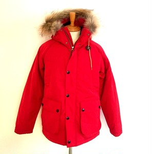Thinsulate Field Jacket with Racoon Fur Red