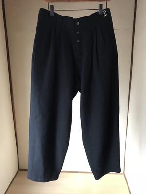 YANTOR  Cotton Linen Wool 3tuck Pants / BLACK