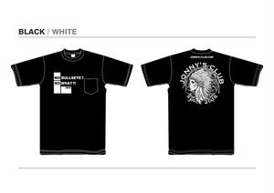 JONNNY'S CLUB Tシャツ BLACK 生地 / WHITEプリント [BKW]