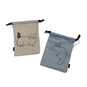 松尾ミユキ reversible drawstring bag【S】リバーシブル巾着バッグ / 猫 CAT