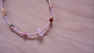 Kunzite + Tourmaline Lavender color beads bracelet