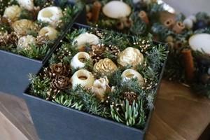 【再販*クリスマス予約受付中】モミと木のみのボックスアレンジ