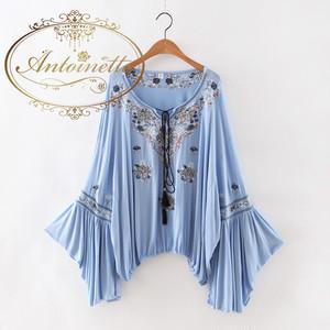 summer dress アジアン エスニック  bule tops cute かわいい 刺繍 ひらひら フリル トップス
