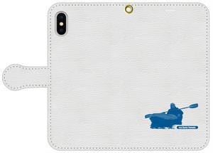 手帳型スマホケース・白レザー調 iPhone X/XS, 8, 7, 6/6s, 5/5s/SE, アンドロイド用S/Mサイズ パドリングシルエット(Leo R. Yamada)・ブルー