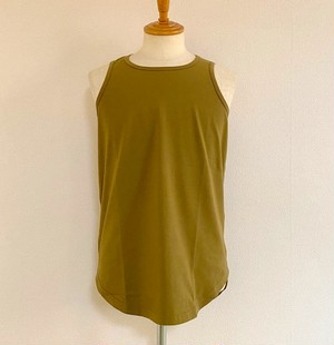 Long Length Tank Top(Spandex Cotton Jersey)【round model】 Khaki