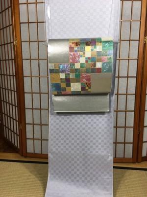 川島織物 市松螺鈿袋帯