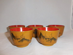 塗のそば猪口(5客) lacquer ware Soba noodle soup five cup(mountain)