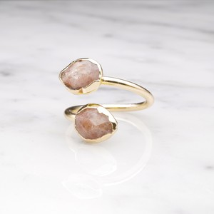 DOUBLE STONE OPEN RING GOLD 056